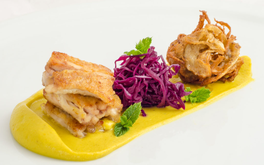 Crispy Boneless Chicken Wings with Curried Cauliflower Puree