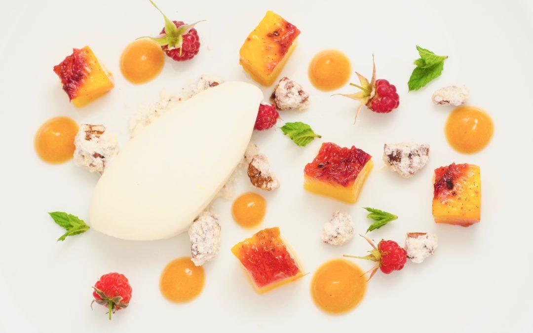 Vanilla Roasted Peaches with Star Anise Yoghurt Sorbet