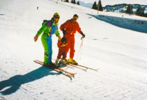 Learning to ski in Les Gets with my parents